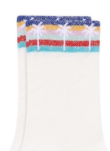 Mavi Palmiye Baskılı  Soket Çorap Beyaz
